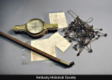 William Calk's surveying tools and documents.